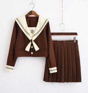 茶色女子Jk制服 半袖 長袖セットアップ 女の子学生服 コスプレ衣装 蝶ネクタイ 靴下 ジャケット プリーツスカート4点セット 可愛いセーラー服