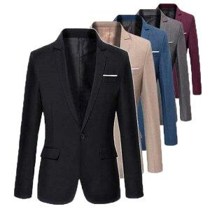 二点送料無料/春秋メンズスーツジャケット カジュアル 長袖一つボタン テーラードジャケット お兄系 コート6色 フォーマル ビジネス 通勤アウター