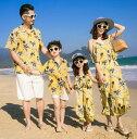 二枚送料無料 2色 新作親子ペア メンズ(男の子)アロハシャツ+ショートパンツ二点セット レディース(女の子)オールインワン パイナップルプリント 春夏海リゾート風家族お揃いペアルック 親子コーデ 単品価格・・・