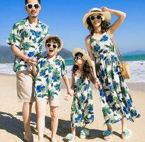 二枚送料無料パパママ娘息子家族お揃いメンズ男の子アロハシャツ+ショートパンツ上下セットアップ女性女の子花柄ロングワンピース人気リゾート風親子ペアルックカップルペアルック親子コーデ