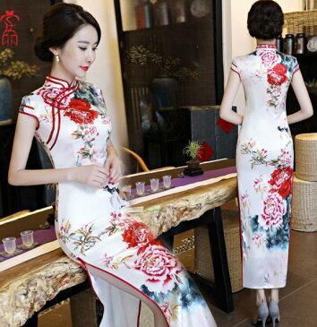 二点送料無料 白地に艶やか花柄チャイナドレス 大きな牡丹花柄 明るい 中国風フォマールドレス 唐装漢服 古典ダンス衣装 中華華流コスプレ衣装 舞台ステージ衣装 ロングチャイナワンピース クラブドレス