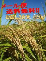 秋田県産ひとめぼれ普通栽培試食米3合(450g)【送料無料】