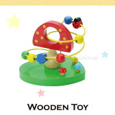 木のおもちゃ ウッデントイ ビーズコースター : きのこ 男の子 女の子 ルーピング かわいい 木製 玩具