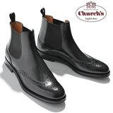 チャーチ Church's レディース ショートブーツ サイドゴア ウイングチップ Ketsby WG Black Polished Binder カーフレザー ブラック サイズ36/36.5/37/37.5/38/38.5 モードなデザイン 上質レザー使用 革靴|サイドゴアブーツ ショート ブーツ ブランド送料無料