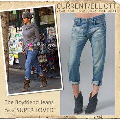 【jg】【 Current Elliott 】 カレントエリオット ボーイフレンド THE BOY FRIEND DENIM 人気のカラー SUPER LOVED ダメージなし  ボーイフレンド デニム ジーンズ