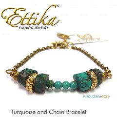 【即日発送】【雑誌掲載】☆CMや雑誌掲載ブランド☆【Ettika エティカ】Turquoise and Chain B...