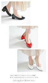 チャンキーヒールポインテッドパンプスリボンエナメルポインテッドトゥ日本製痛くない走れるヒールレディースJ.EVERY歩きやすい黒赤白大人可愛い上品ブラックレッドホワイト|おしゃれかわいいパテント靴オフィス仕事太ヒール