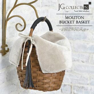 kago包桶型4部製造羊皮毛皮蓋籃球暗褐色女士JG收集JG Collection外出包一方向盤筐子包筐子包桶型包或者背桶包即日發送