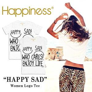 【メ】【jg】Happiness 10 ハピネス Tシャツ ロゴTシャツ 半袖 白 《 HAPPY SAD 》 遊び心のある 大人のための ロゴT ♪ 雑誌 にも多数掲載されて話題の シンプル デザイン!