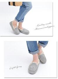 【n】【UGGアグ】上質シープスキンスエードモカシンローファームートンシューズ2015新作AnsleySuedeMoccasinSlippers厚みのあるボアが暖かい♪ムートンスリッポンセレブ愛用ブランド革靴