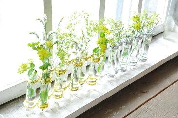 【フラワーベース ガラスベース 花瓶 全2色 インテリア 雑貨 試験管 ギフト アンティーク調 アンティーク風】リンクチューブベース