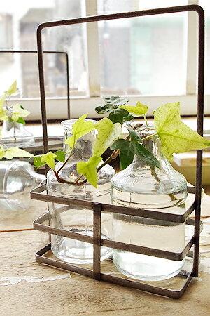 【フラワーベース ガラスベース 花瓶 アイアンホルダー付 インテリア 雑貨 ガラスボトル アンティーク調 アンティーク風】ブリュージュ 2ボトル アイアンホルダー