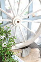 【オブジェ 置物 レリーフ ガーデン ホイール シャビー ガーデニング おしゃれ アンティーク調 アンティーク風】ガーデンウィール L ホワイト