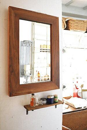 【ウォールミラー 壁掛け 壁付 サロン 木製 鏡 サニタリー アンティーク調 アンティーク風】チークフレームミラー
