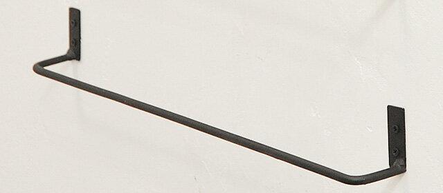 【タオルバーハンガータオルホルダー壁付アイアンサニタリーキッチンアンティーク調アンティーク風】アイアンタオルバー2ブラックS