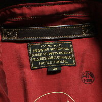 "No.BR80475BUZZRICKSON'SバズリクソンズtypeA-2""BUZZRICKSONCLOTHINGCO.""ContractNO.W535AC16159CHEVRONZIPPERREDSILKLINING"