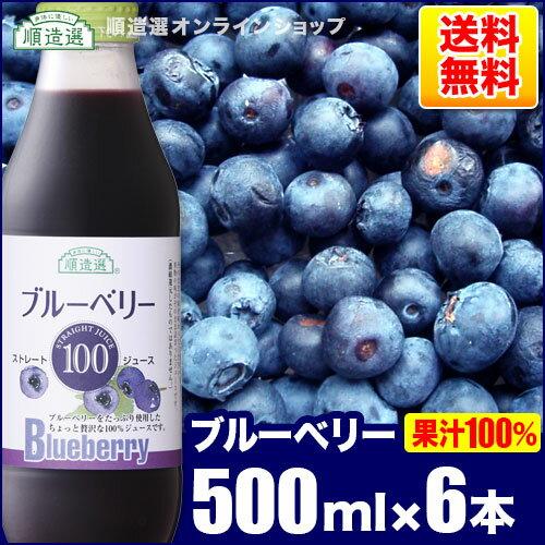 果汁100% ブルーベリー100 ジュース500ml×6本入りセット(ストレート)順造選 【smt...