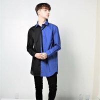Two-ColorShirtツーカラーシャツメンズツートーン二色青黒