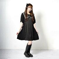 サイドプリーツワンピースレディースワンピースサイドベルト体系カバー半袖病みかわいい地雷系ファッション