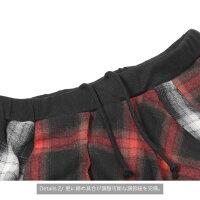 フェイク巻きスカートJURYBLACK【ジュリーブラックメンズファッションチェック柄カジュアルストリートUKロックロンドンエレガントレディースペアゴムユニセックスバイカラーv系ビジュアル系ヴィジュアル系】