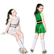 ダンススパンコール衣装キッズヒップホップチアチアガール3点セットベストスカートジャズセットアップ女の子