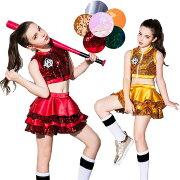 ダンススパンコール衣装キッズヒップホップチアチアガール2点セットベストスカートジャズセットアップ女の子原宿系衣装hiphopjazz