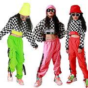キッズダンス衣装子供ヒップホップダンクトップシャツギンガムチェック男の子サルエルパンツ女の子ダンス衣装ジャズダンスステージ衣装チェック衣装