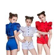 ダンス衣装キッズヒップホップモダンガールズ2点セットメッシュシャツパンツヒップホップセットアップ女の子原宿系ジャズ衣装hiphopjazz
