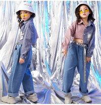 ダンス衣装キッズジャズチアチアガールセットアップtシャツ短パンツジャズセットアップ女の子ポロシャツ無地衣装hiphopjazz舞台効果抜群!
