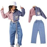 キッズダンス衣装ヒップホップHIPHOP子供ダンストップスチェック柄シャツデニムパンツジーンズ男の子女の子ジャズダンスステージ衣装