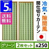 【2枚セット】 間仕切りサッとパタパタカーテン 100×250cm グリーン