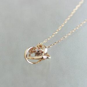 揺れるダイヤネックレスレディースプチ4月誕生石ダインシングストーンシンプルピンクゴールドK18PG0.080ctねっくれす宝石じゅえりー