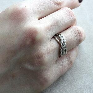 指輪レディースリングダイヤモンドプラチナX字リング4月誕生石ダイヤリングPT0.500ct