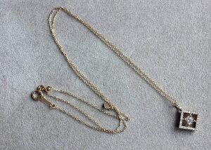ネックレスレディースペンダントダイヤモンド4月誕生石ピンクゴールドK18PG0.230/0.160ctHCカード付き