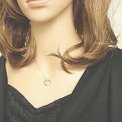 ハートペンダントネックレスカラーストーン4月誕生石ダイヤモンド10金ホワイトゴールドK10アクセサリージュエリーショップDiamond結婚記念日ギフト