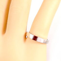 ガーネットリングカラーストーンリングピンキーリング1月誕生石18金指輪ホワイトゴールドK18ファランジリングミディリングギフト