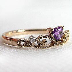 ティアラピンキーリングハートアメジストピンクゴールドK18ダイヤモンド小指用指輪K18PGカラーストーン結婚記念日クリスマス2月誕生石