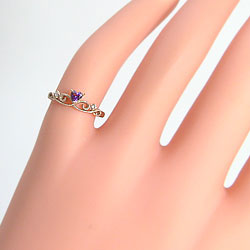 ティアラピンキーリングハートアメジストリングピンクゴールドK18ダイヤモンド小指用指輪K18PGカラーストーン結婚記念日クリスマス2月誕生石bs02ギフト