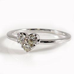 ハートダイヤモンドリング0.20ct18金ホワイトゴールドK18記念日プレゼント婚約結婚式ジュエリーショップ可愛いハートギフト