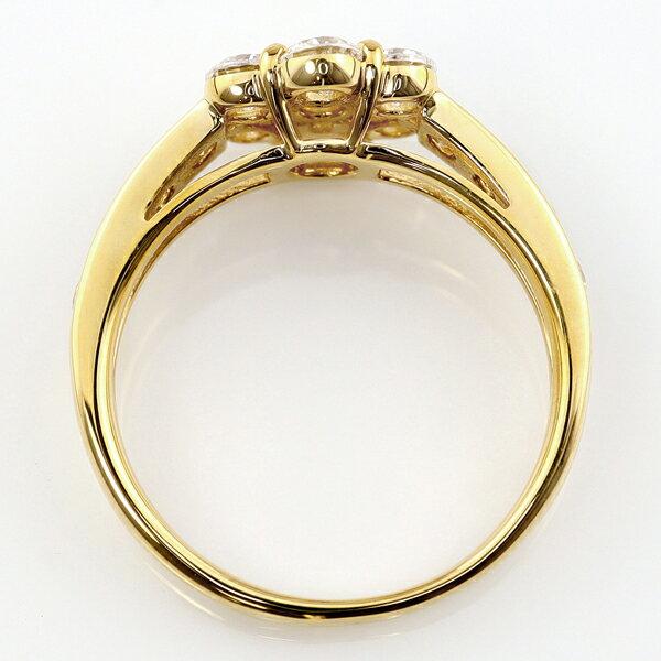ダイヤモンドリング 18金 指輪 レディース K18 ダイヤモンド デザインリング フラワー モチーフ ダイヤ 1ct 天然ダイヤ 婚約指輪 ブライダル ホワイトデー プレゼント