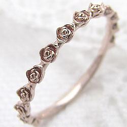 ローズリング バラ 指輪 18金 エタニティリング ピンクゴールドK18 薔薇指輪 ピンキーリング ファランジリング ミディリング レディース 究極 ギフト