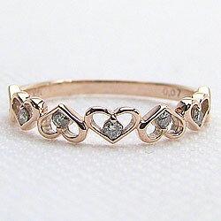 ハートリングダイヤモンドリング10金指輪ピンクゴールドK10ピンキーリングファランジリングミディリングレディースリング結婚記念日オシャレジュエリーギフト