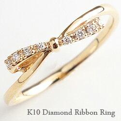 リボンダイヤモンドリング 指輪 1号〜 ピンキーリング ホワイトゴールドK10 ピンクゴールドK10 ...