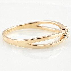 指輪スリーストーンダイヤモンドリング10金トリロジーピンキーリング交差インフィニティファランジリングミディリングホワイトゴールドK10ピンクゴールドK10イエローゴールドK10ギフト