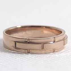バンドデザインリングピンクゴールドK18結婚式プレゼントオシャレ指輪K18PGアクセサリージュエリーショップファッションリングギフト