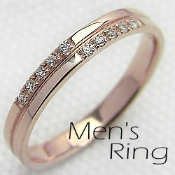 メンズダイヤモンドクロスリングピンクゴールドK10指輪K10PGジュエリーアイringギフト