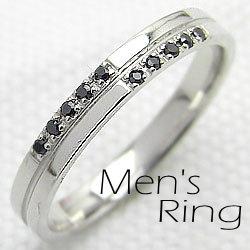 プラチナ900/ブラックダイヤモンドクロスリング/メンズリング/指輪ジュエリーアイ/Pt900diaring