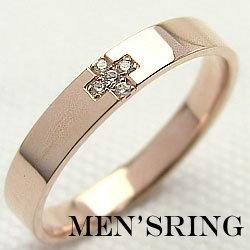 ◆送料無料◆クロスダイヤリング メンズリング ピンクゴールドK18メンズリング 十字架デザイン ...