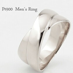 プラチナ メンズリング 指輪 クロス 交差 幅広 太い Pt900 men