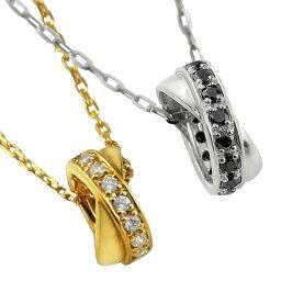 ペアネックレス シンプル ゴールド ダイヤモンド ブラックダイヤモンド クロス サークル ペンダント 2本セット ネックレス K18 18金 チェーン ペア 婚約 結婚式 カップル ペアルック おすすめ プレゼント